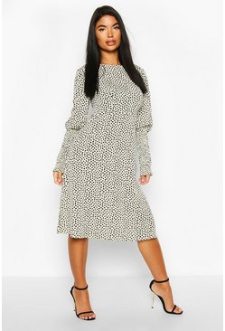 White Petite Woven Smudge Print Shirred Sleeve Midi Dress