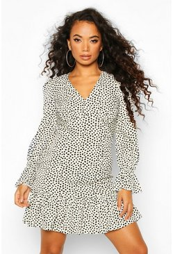 White Petite Smudge Print Volume Sleeve Mini Dress