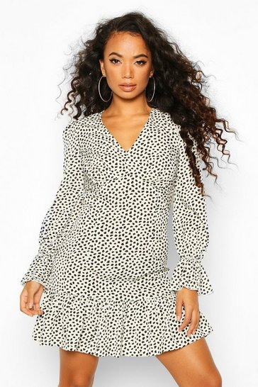 Womens White Petite Smudge Print Volume Sleeve Mini Dress