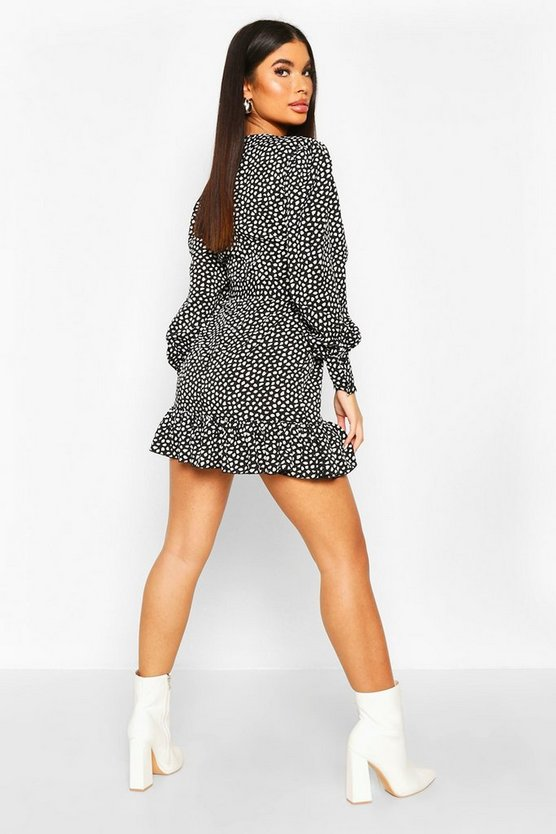 Petite Smudge Print Frill Hem Belted Wrap Dress