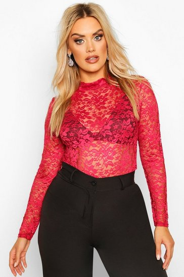 Berry Plus High Neck Lace Bodysuit