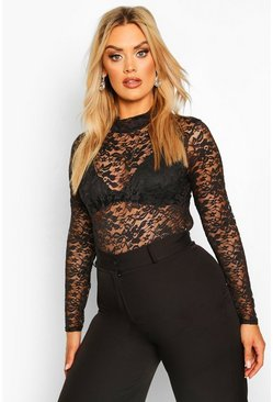 Plus High Neck Lace Bodysuit, Black