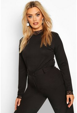 Plus Lace High Neck Top, Black, FEMMES