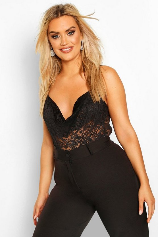 Black Plus Lace Cowl Neck Bodysuit