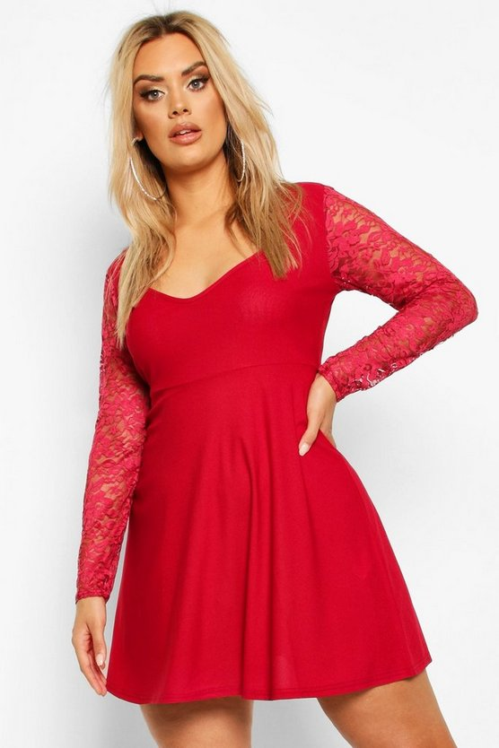 Berry Plus Lace Sleeve Plunge Skater Dress