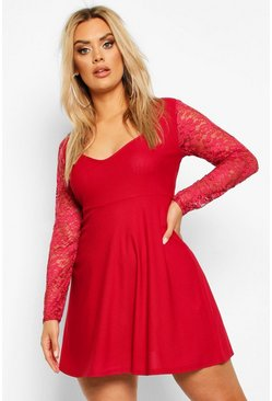 Plus Lace Sleeve Plunge Skater Dress, Berry, FEMMES