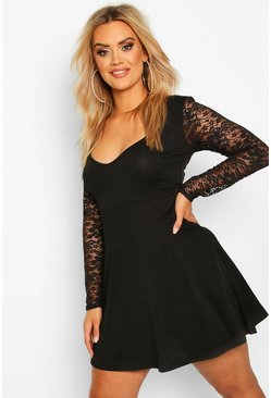 Plus Lace Sleeve Plunge Skater Dress, Black, FEMMES