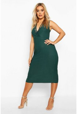 Plus Lace Detail Plunge Midi Dress, Emerald, FEMMES