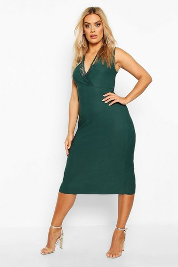 Womens Emerald Plus Lace Detail Plunge Midi Dress