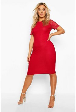Womens Berry Plus Lace Sleeve Midi Dress