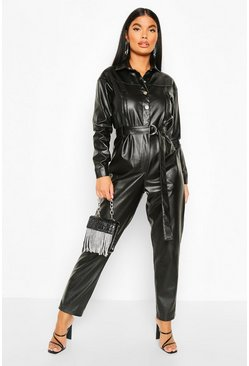 Petite Faux Leather Boilersuit, Black