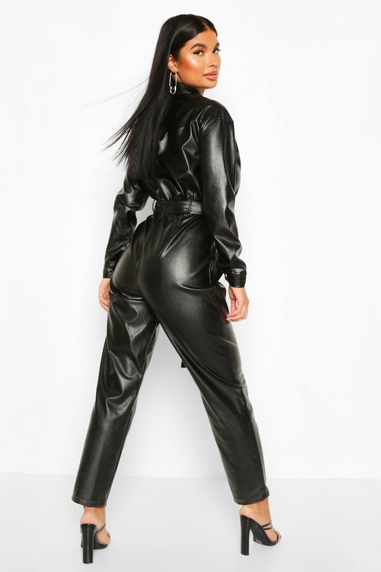 Petite Faux Leather Boilersuit