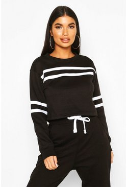 Petite Double Sport Stripe Sweat Top, Black, Donna