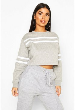 Grey Petite Double Sport Stripe Sweat Top