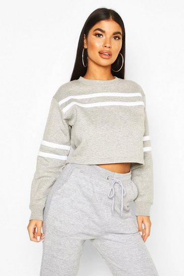Womens Grey Petite Double Sport Stripe Sweat Top