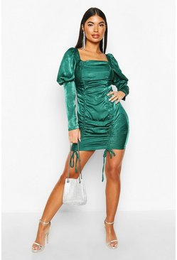 Petite Hammered Satin Volume Sleeve Mini Dress, Emerald, DAMEN