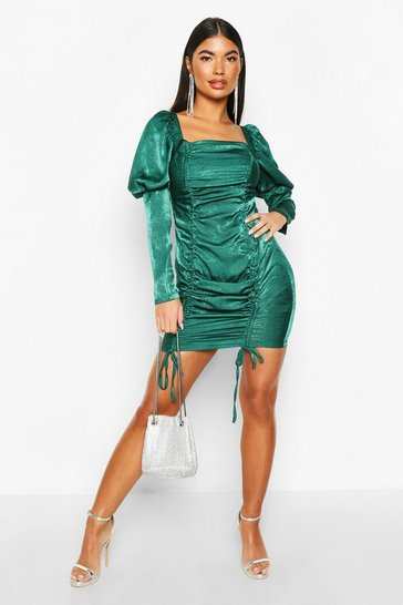 Womens Emerald Petite Hammered Satin Volume Sleeve Mini Dress
