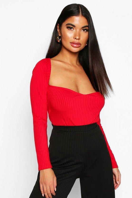 Petite Sweetheart Neckline Knitted Rib Bodysuit