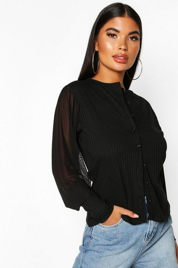 Black Petite Organza Puff Sleeve Button Through Cardigan