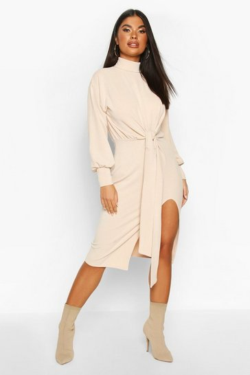 Womens Stone Petite Roll Neck Tie Detail Rib Midi Dress