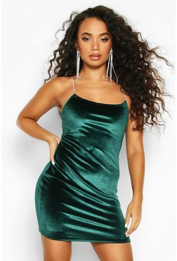 Womens Green Petite Diamante Strap Velvet Mini Dress