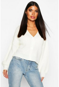 Cream Petite Balloon Sleeve Rib Knitted Cardigan