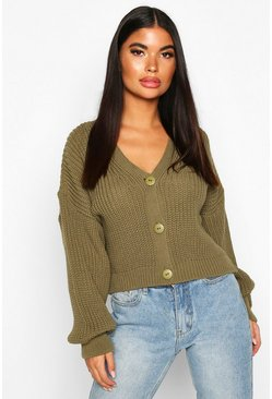 Womens Khaki Petite Balloon Sleeve Rib Knitted Cardigan