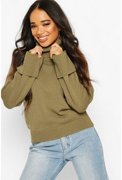 Khaki Petite Roll Neck Wide Turn Up Cuff Jumper