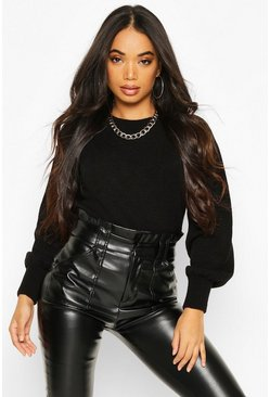 Black Petite Fluffy Knit Balloon Sleeve Jumper