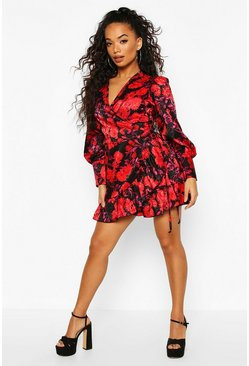 Black Petite Floral Satin Jacquard Belted Wrap Dress