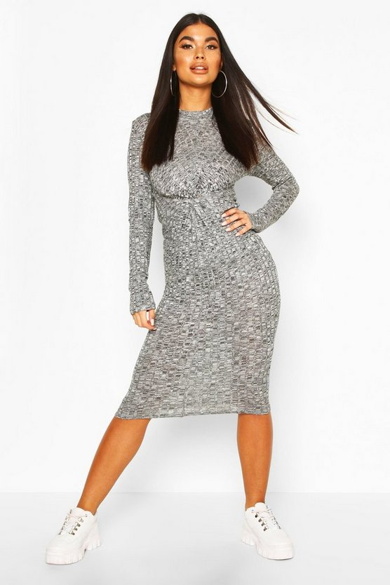 Charcoal Petite Knitted Rib Knot Front Midi Dress