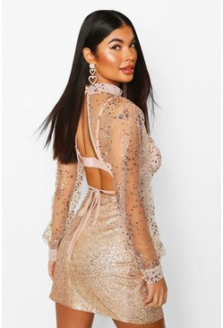 Womens Pink Petite Sequin Mesh High Neck Open Back Top