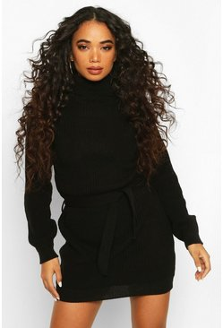 Womens Black Petite Self Belted Roll Neck Jumper Dress