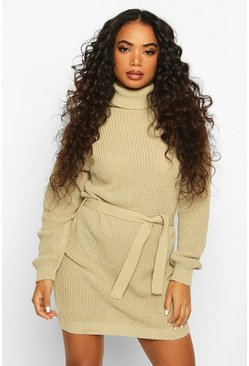 Petite Self Belted Roll Neck Jumper Dress, Sand, DAMEN