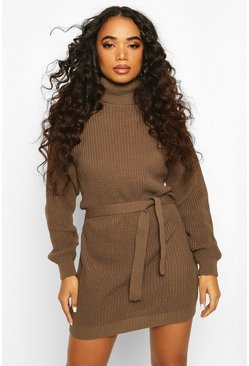 Petite Self Belted Roll Neck Jumper Dress, Tan, FEMMES