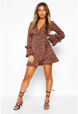 Petite Floral Long Sleeve Wrap Dress, Black