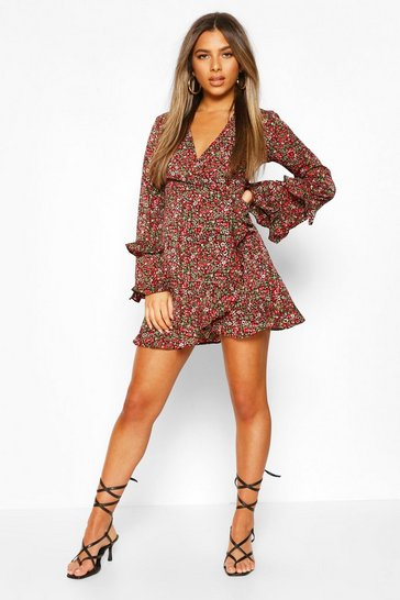 Black Petite Floral Long Sleeve Wrap Dress