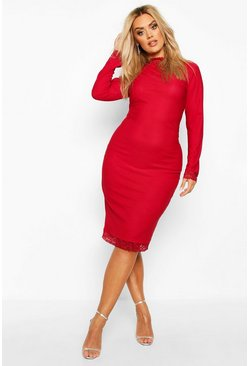 Womens Berry Plus Lace HIgh Neck Bodycon Dress