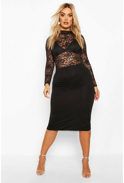 Black Plus Lace High neck Contrast Midi Dress