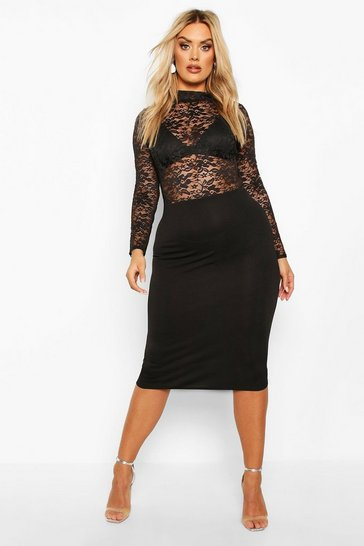 Womens Black Plus Lace High neck Contrast Midi Dress
