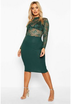 Plus Lace High neck Contrast Midi Dress, Emerald, MUJER