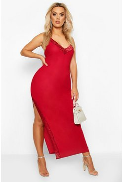 Berry Plus Lace Detail Thigh Split Maxi Dress