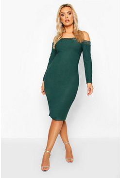 Plus Lace Detail Bardot Midi Dress, Emerald, FEMMES