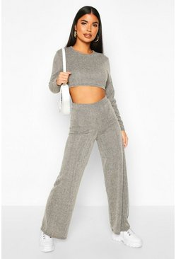 Grey Petite Soft Brush Rib Wide Leg Loungewear Set