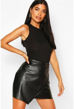 Petite PU Wrap Mini Skirt, Black