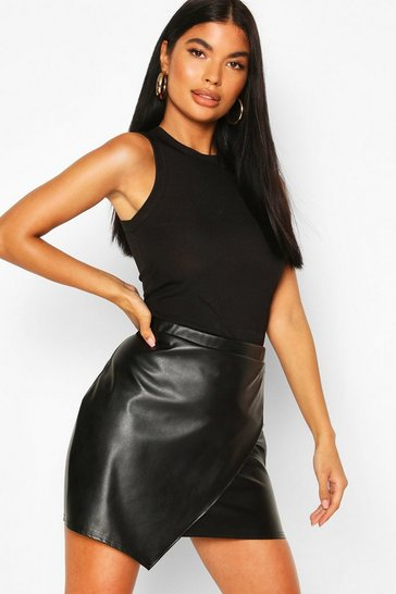 Black Petite PU Wrap Mini Skirt