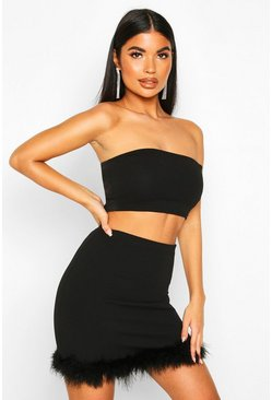 Petite Bandeau & Faux Feather Skirt Co-Ord, Black, DAMEN