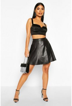 Womens Black Petite Wet Look Mini Skater Skirt