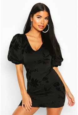 Black Petite Glitter Flock Floral Puff Sleeve Mini Dress