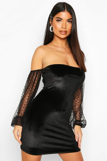 Womens Black Petite Dobby Mesh Sleeve Velvet Bardot Mini Dress